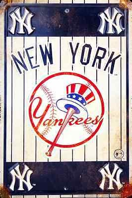 "NEW YORK YANKEES METAL SIGN RETRO VINTAGE PARKING SIGN MAN CAVE 8""x 12"""
