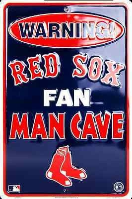 "BOSTON RED SOX SIGN WARNING RED SOX FAN MAN CAVE METAL PARKING SIGN 8""x 12"""