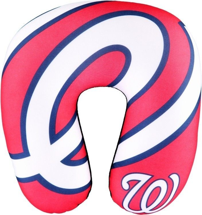 "WASHINGTON NATIONALS TRAVEL NECK PILLOW 12"" X 13"" SUPER SOFT FLEECE MLB FAN"
