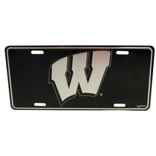 WISCONSIN BADGERS ELITE CAR TRUCK TAG LICENSE PLATE BLACK METAL SIGN UNIVERSITY
