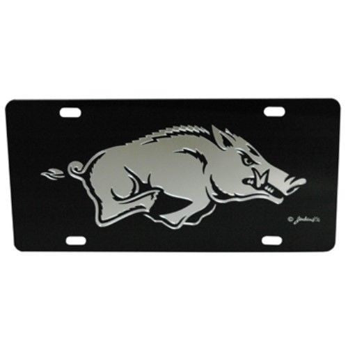 ARKANSAS RAZORBACKS MIRRORED CAR TAG LICENSE PLATE BLACK HOGS SIGN UNIVERSITY
