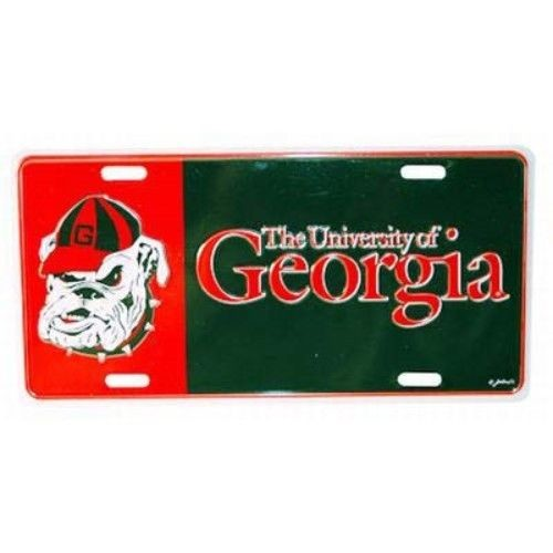 GEORGIA BULLDOGS CAR TRUCK TAG LICENSE PLATE RED BLACK BULLDOG CAP UNIVERSITY