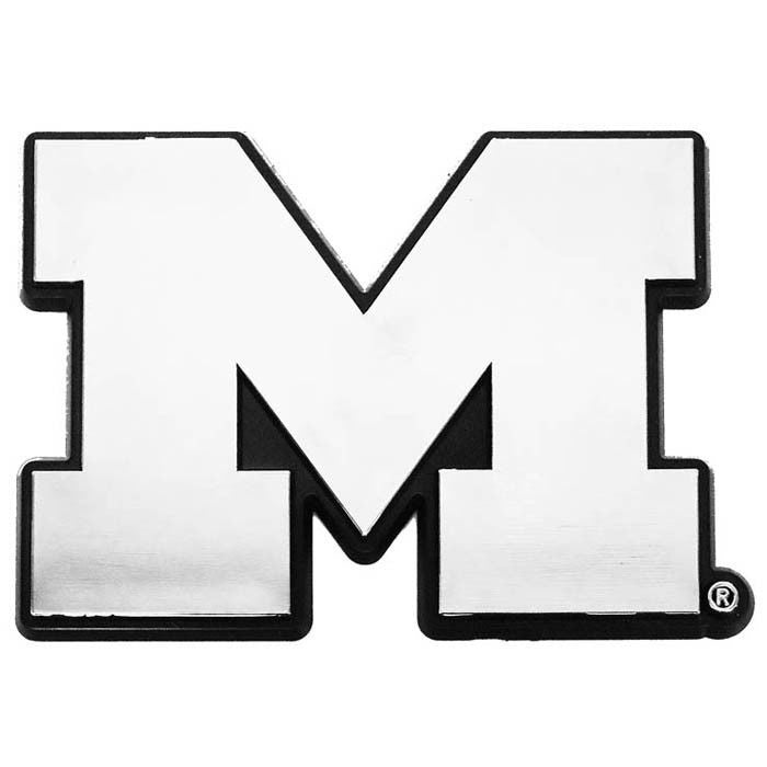 MICHIGAN WOLVERINES CAR EMBLEM CHROME M LOGO SIGN UNIVERSITY AUTO TRUCK VEHICLE