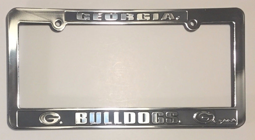 GEORGIA BULLDOGS CAR TRUCK TAG LICENSE PLATE FRAME UGA UNIVERSITY SILVER BLACK