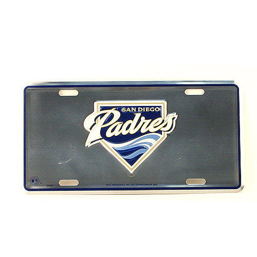 SAN DIEGO PADRES CHROME CAR TRUCK TAG LICENSE PLATE EMBOSSED METAL SIGN MAN CAVE