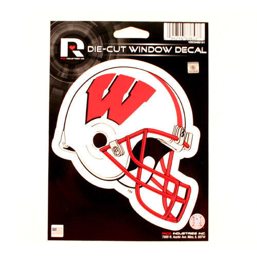 "WISCONSIN BADGERS HELMET WINDOW DECAL 5.25"" X 6.25"" STICKER CAR TRUCK DIE-CUT"