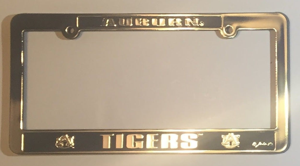 AUBURN TIGERS CAR TRUCK TAG LICENSE PLATE FRAME UNIVERSITY SILVER ...