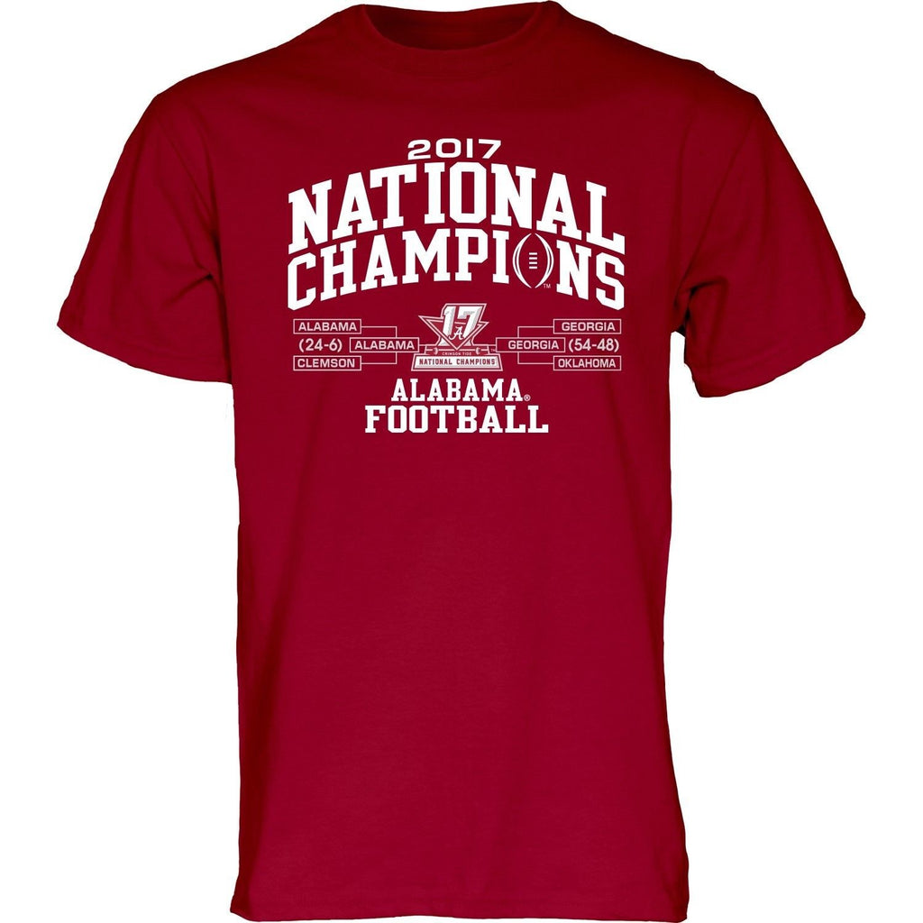 ALABAMA NATIONAL CHAMPIONS 2017 SHORT SLEEVE NCAA DOUBLE SIDED T-SHIRT FOOTBALL