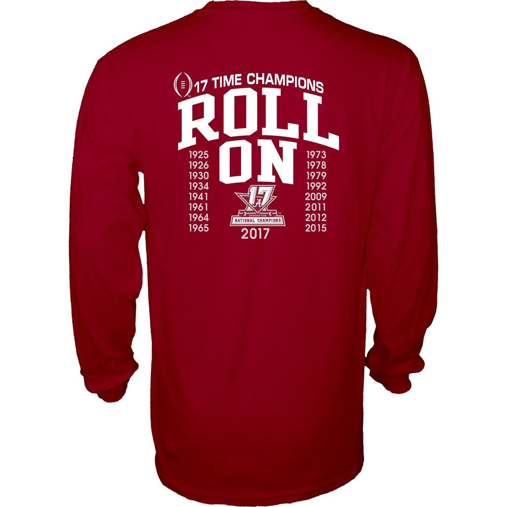 ALABAMA NATIONAL CHAMPIONS 2017 LONG SLEEVE NCAA DOUBLE SIDED T-SHIRT FOOTBALL