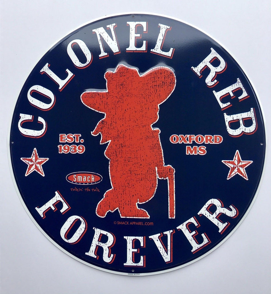 OLE MISS REBELS LARGE ROUND METAL SIGN COLONEL REB FOREVER
