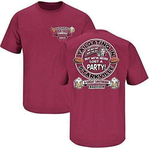 MISSISSIPPI STATE TAILGATING IN STARKVILLE  NEVER LOST A PARTY T-SHIRT NCAA