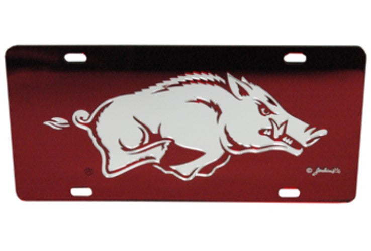 ARKANSAS RAZORBACKS MIRRORED CAR TAG LICENSE PLATE RED HOGS SIGN UNIVERSITY