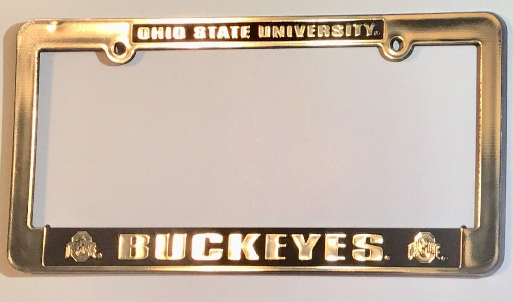 OHIO BUCKEYES CAR TRUCK TAG LICENSE PLATE FRAME STATE UNIVERSITY SILVER BLACK
