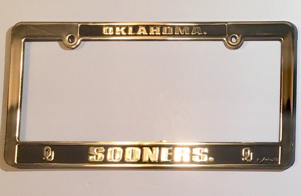 OKLAHOMA SOONERS CAR TRUCK TAG LICENSE PLATE FRAME  UNIVERSITY SILVER BLACK