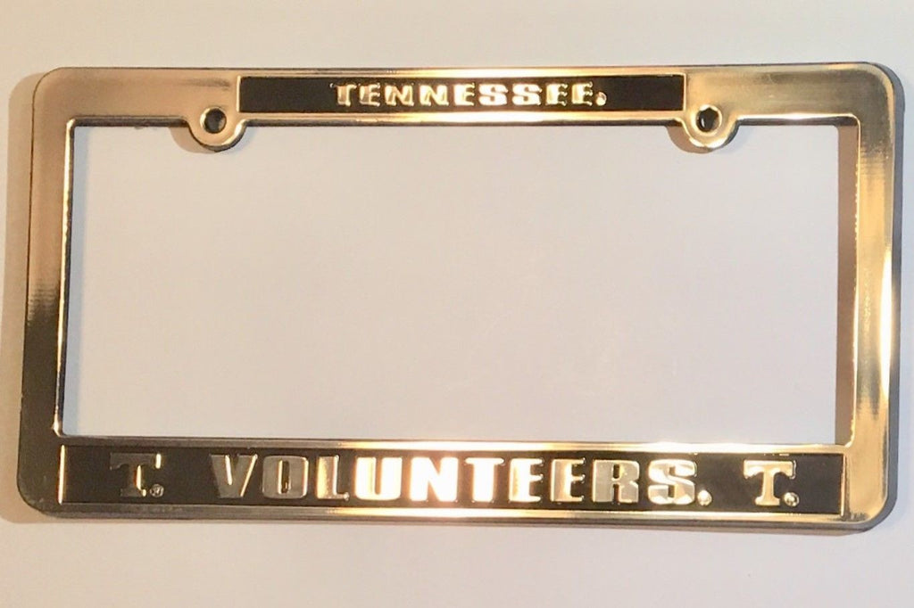 TENNESSEE VOLUNTEERS CAR TRUCK TAG LICENSE PLATE FRAME UNIVERSITY SILVER  BLACK