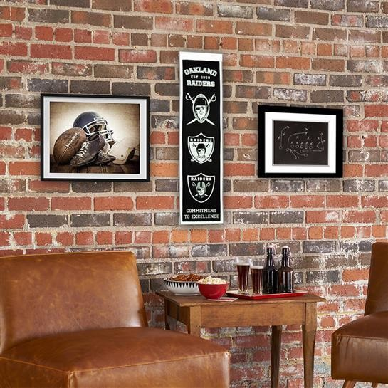 Oakland Raiders Heritage Banner Nfl Man Cave Game Room Office