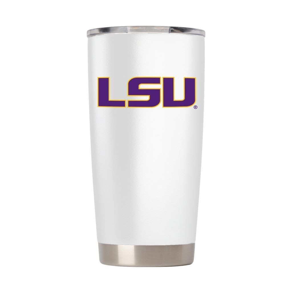 LSU TIGERS DRINKWARE VACUUM INSULATED TUMBLER WHITE 20 OZ