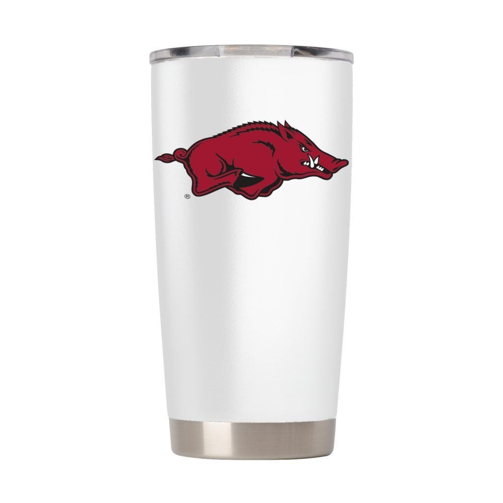 ARKANSAS RAZORBACKS 20 OZ WHITE VACUUM INSULATED TUMBLER