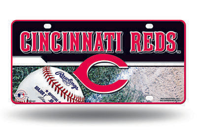 CINCINNATI REDS CAR TRUCK TAG LICENSE PLATE MLB BASEBALL METAL SIGN