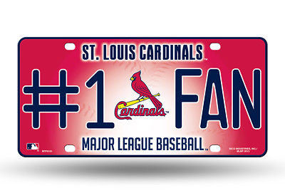 ST LOUIS CARDINALS #1 FAN CAR TRUCK TAG LICENSE PLATE MLB BASEBALL METAL SIGN