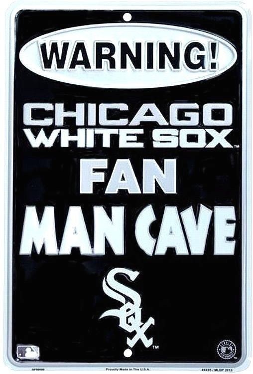 "CHICAGO WHITE SOX SIGN WARNING FAN MAN CAVE METAL PARKING SIGN 8""x 12"""