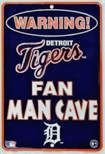 "DETROIT TIGERS SIGN WARNING FAN MAN CAVE METAL PARKING SIGN 8""x 12"" SPORTS ROOM"