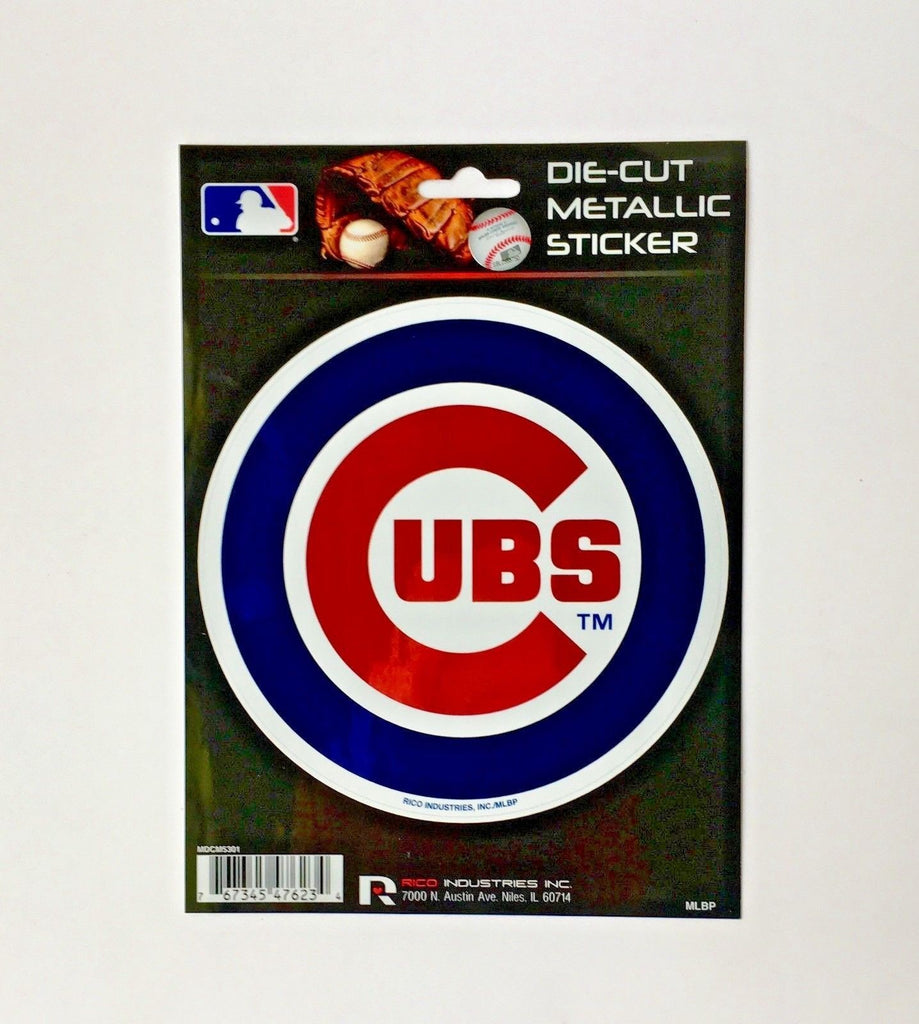 "CHICAGO CUBS WINDOW DECAL 5.25"" X 6.25"" DIE CUT METALLIC STICKER TRUCK CAR LOGO"