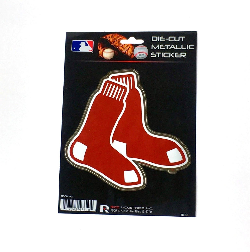 "Boston Red Sox Window Decal 5.25"" X 6.25"" Die Cut Metallic Sticker Car Logo"