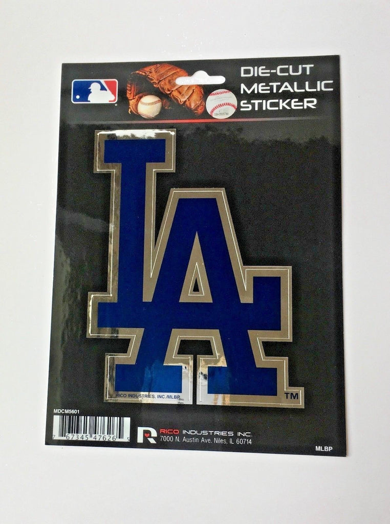 "LOS ANGELES DODGERS WINDOW DECAL 5.25""X 6.25"" DIE CUT METALLIC STICKER LA LOGO"