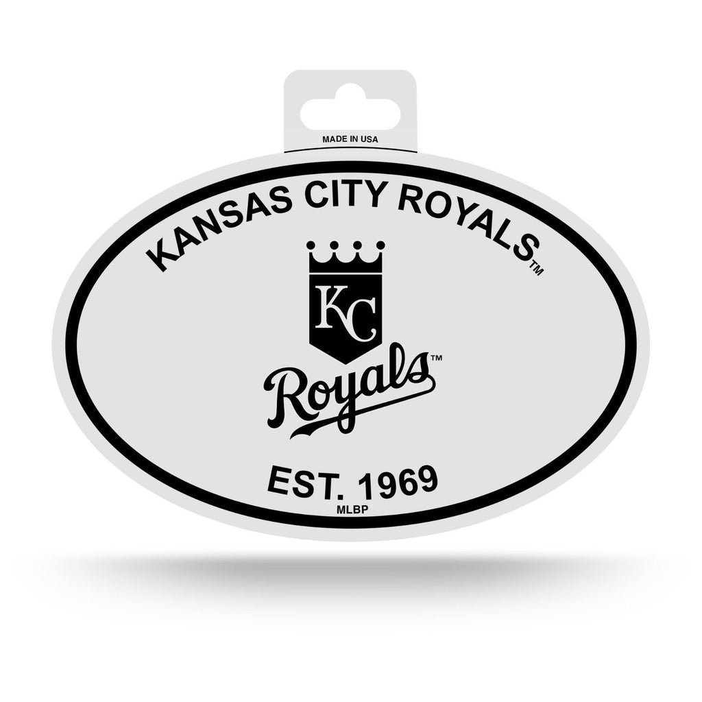 "KANSAS CITY ROYALS BLACK AND WHITE OVAL DECAL STICKER 4""x 6"" EST. 1969 BASEBALL"