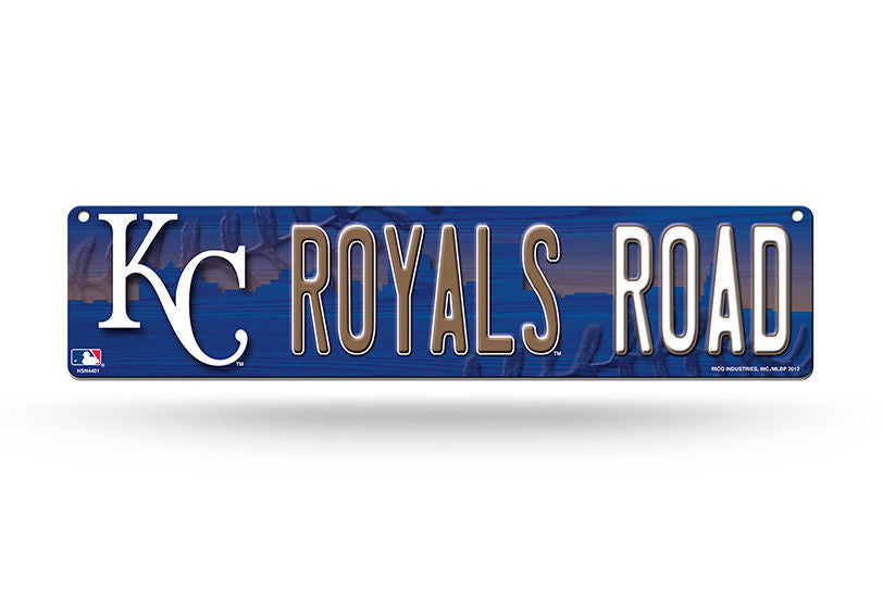 "KANSAS CITY ROYALS PLASTIC STREET SIGN 4""X16"" ""ROYALS ROAD"" MAN CAVE BASEBALL"