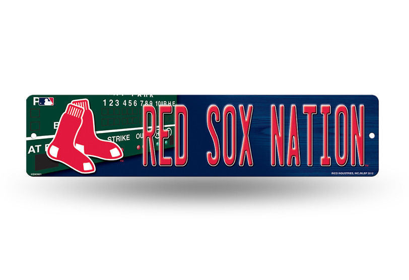 "BOSTON RED SOX PLASTIC STREET SIGN 4""X16"" ""RED SOX NATION"" MAN CAVE BASEBALL"