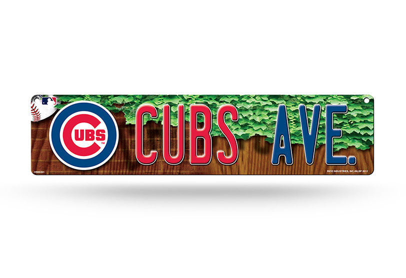 "CHICAGO CUBS PLASTIC STREET SIGN 4""X16"" ""CUBS AVE"" MAN CAVE BASEBALL SPORTS ROOM"