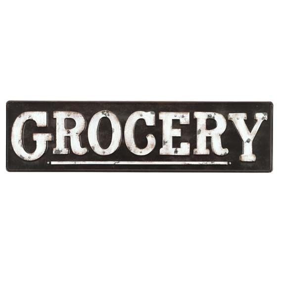 GROCERY SIGN EMBOSSED DISTRESSED METAL WALL ART