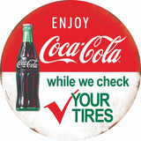 COCA-COLA BOTTLE CHECK TIRES ROUND TIN 12