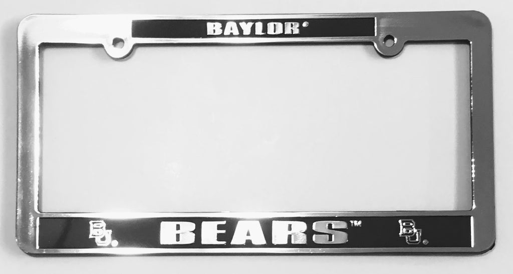 BAYLOR BEARS LICENSE PLATE FRAME SILVER BLACK