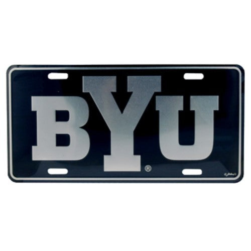 BYU COUGARS LICENSE PLATE ELITE SILVER BLACK