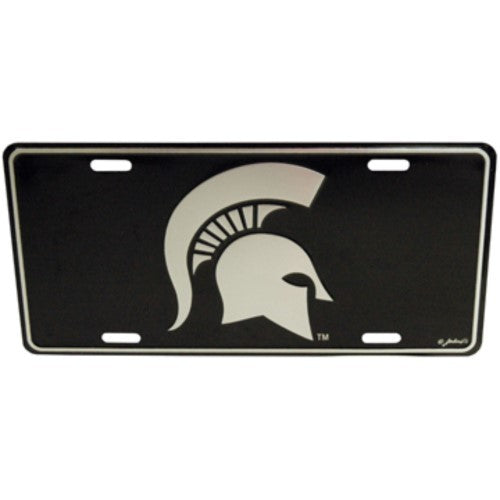 MICHIGAN STATE SPARTANS LICENSE PLATE ELITE METAL SILVER BLACK