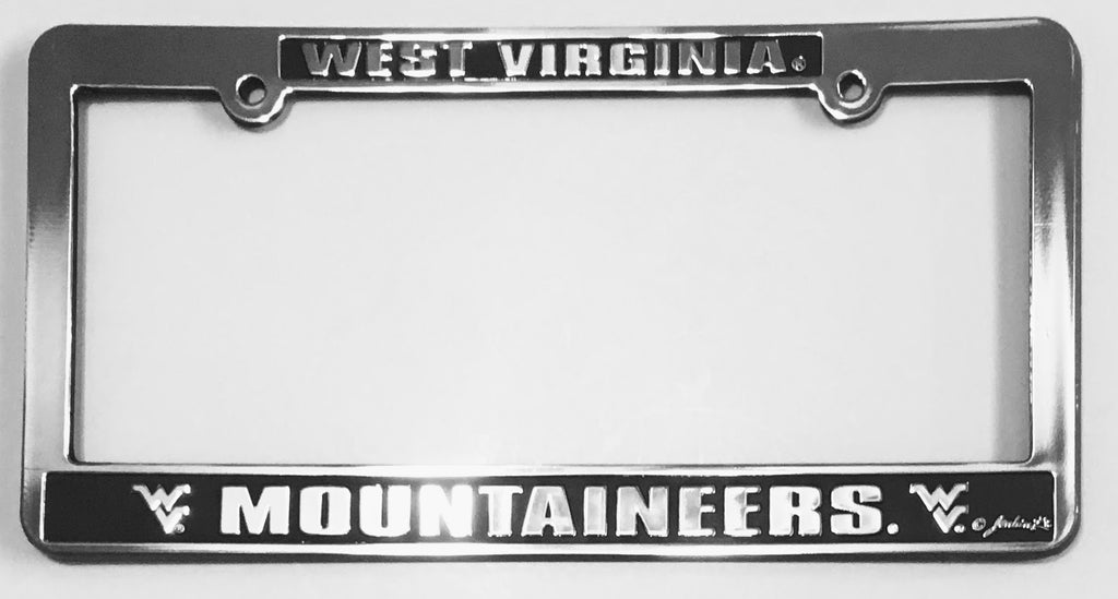 WEST VIRGINIA MOUNTAINEERS LICENSE PLATE FRAME SILVER BLACK