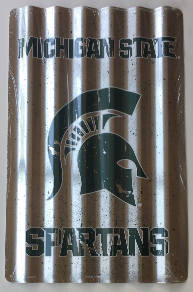 MICHIGAN STATE SPARTANS CORRUGATED METAL SIGN 12 X 18""