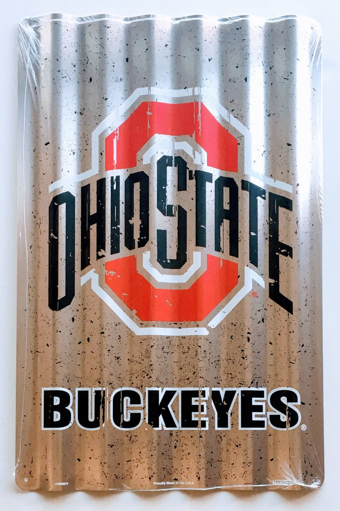 OHIO STATE BUCKEYES CORRUGATED METAL SIGN 12 X 18""