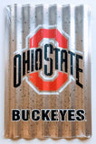 OHIO STATE BUCKEYES CORRUGATED METAL SIGN 12 X 18