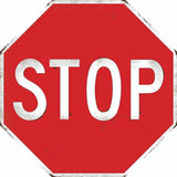 STOP SIGN VINTAGE LOOK OCTAGON SHAPED METAL EMBOSSED SIGN