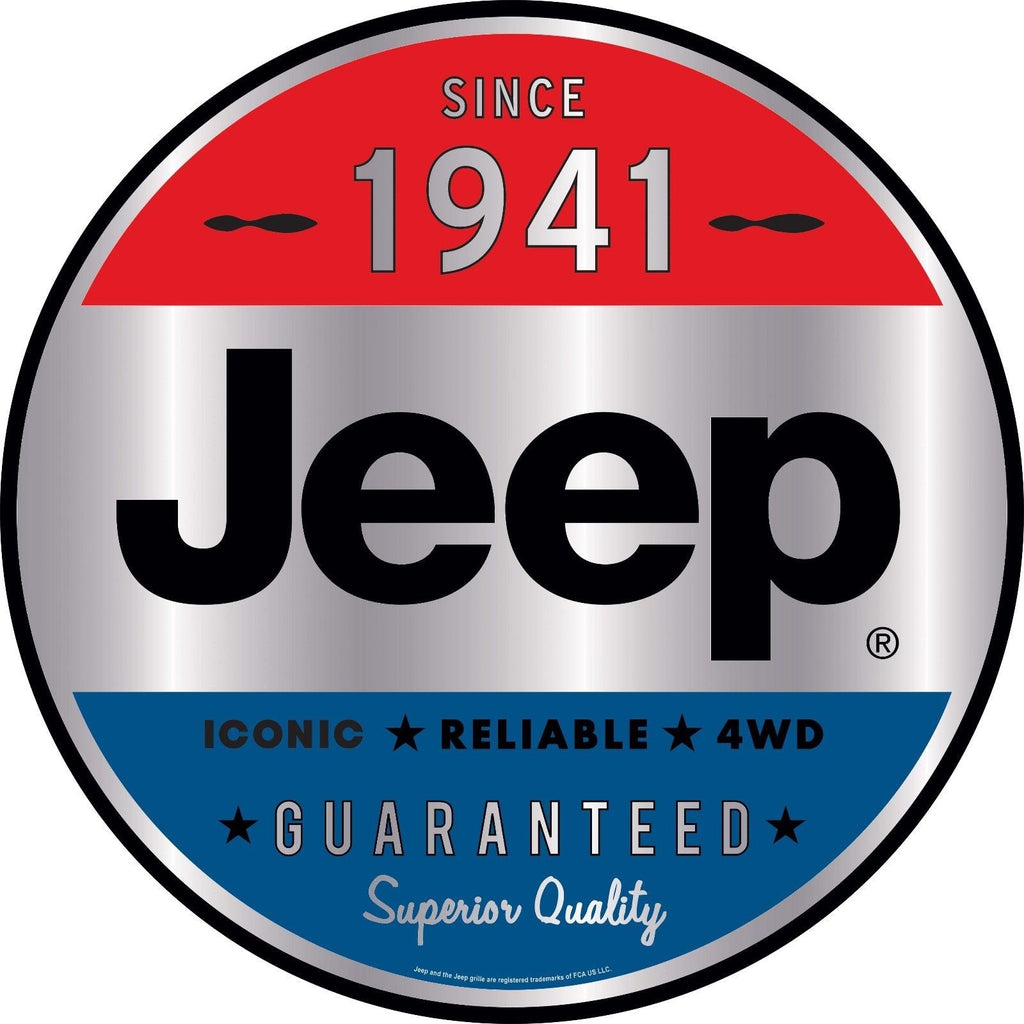 "JEEP SINCE 1947 12"" ROUND METAL SIGN"