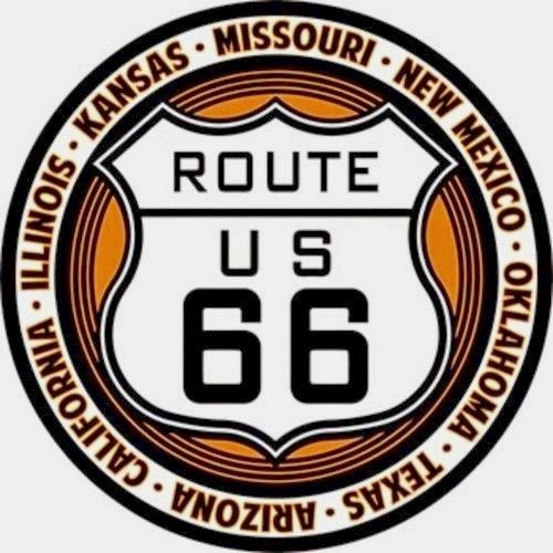 US ROUTE 66 EMBOSSED METAL BUTTON HIGHWAY SIGN