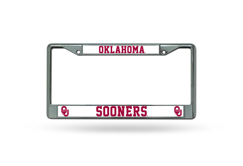 OKLAHOMA SOONERS CAR TRUCK TAG METAL LICENSE PLATE FRAME CHROME WHITE UNIVERSITY
