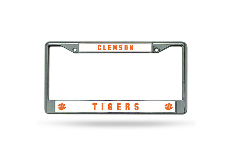 CLEMSON TIGERS CAR TRUCK TAG METAL LICENSE PLATE FRAME CHROME WHITE ORANGE
