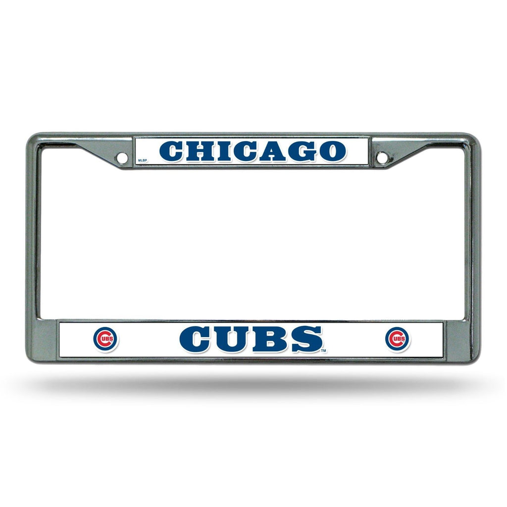CHICAGO CUBS CAR TRUCK TAG METAL LICENSE PLATE FRAME CHROME WHITE BASEBALL MLB