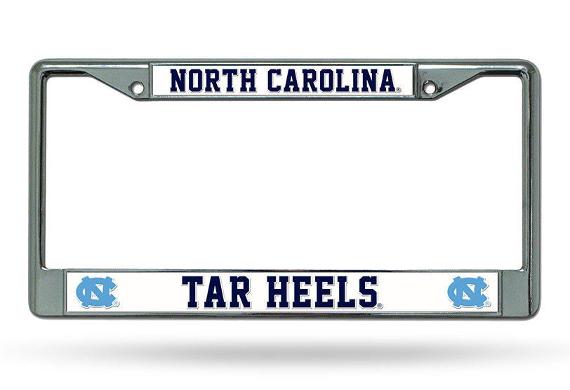 North Carolina Tar Heels Car Tag License Plate Frame Metal Chrome