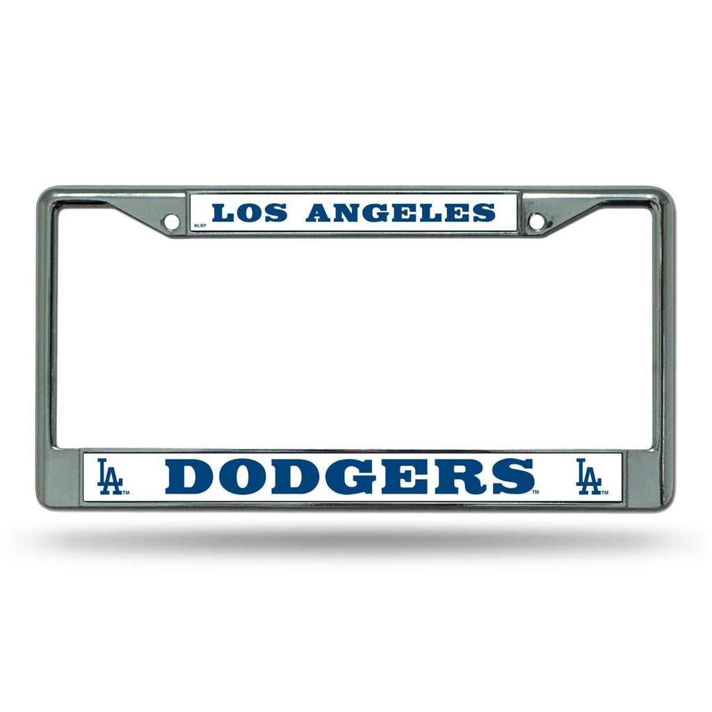 LOS ANGELES DODGERS CAR TRUCK TAG METAL LICENSE PLATE FRAME CHROME WHITE MLB LA